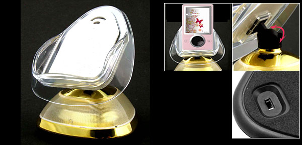 Cell Phone PDA iPod Desktop Holder in Gold Color w/ Flashlight