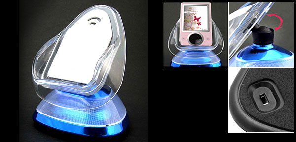 New Desktop Holder with Flashlight for Cell Phone PDA iPod Blue