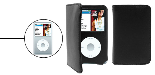Black Artifical Leather Case with Credit Card Pouch for iPod Classic