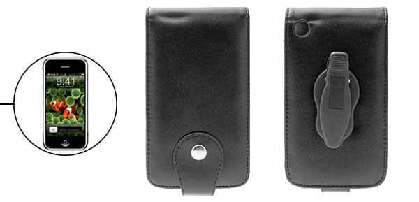 Black Leather Case with Plastic Clip for iPhone 1st Generation
