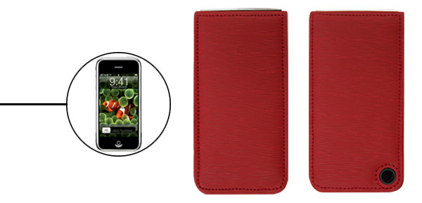 Red Faux Leather Protective Vertical Case for iPhone 1st Generation