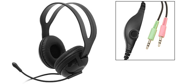Black 3.5mm Noise Cancelling Audio Headphones Headset with Microphone