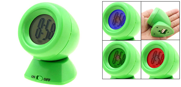 Colorful Backlight Rotated Small Desk Alarm Clock Egg Green