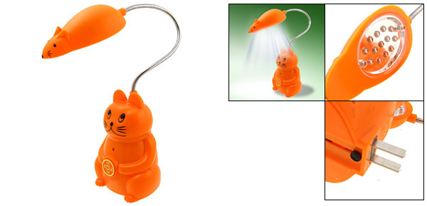 Cat and Mouse LED Rechargeable Reading Light - Orange