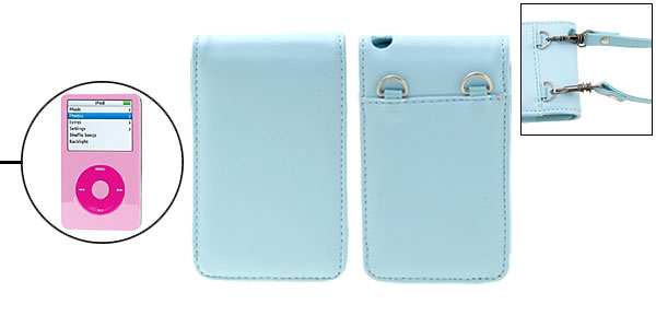 Sky Blue Artifical Luxury Leather Flip Case for iPod Video with Strap