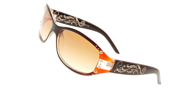Brown Plastic Lens Women Rhinestone Sunglasses