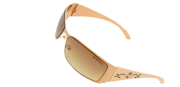 Outdoors Beige Metal Frame Metal Frame Women's Sunglasses