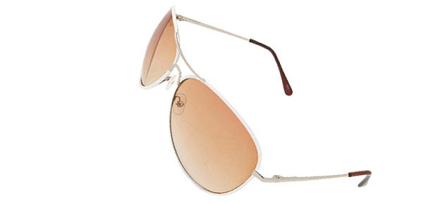 Unisex Aviator Sunglasses - White Metal Frame and Brown Lenses
