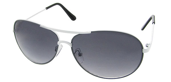 Light Grey Aviators - White Metal Frame Sunglasses