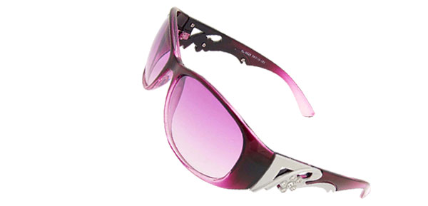 Plastic Frame Purple Round Lens Women Lady Rhinestone Sunglasses