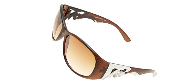 Brown Plastic Frame Round Lens Lady Women Sunglasses