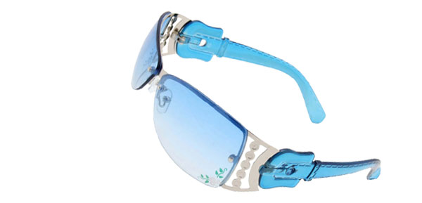 Metal Frame Flower Sports Girls Womans Stylish Sunglasses Blue