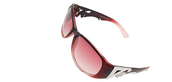 Women Plastic Frame Pink Round Lens Lady Sunglasses