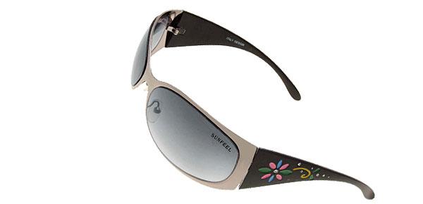 Stylish Womans Flower Girls Black Fashion Metal Frame Sunglasses