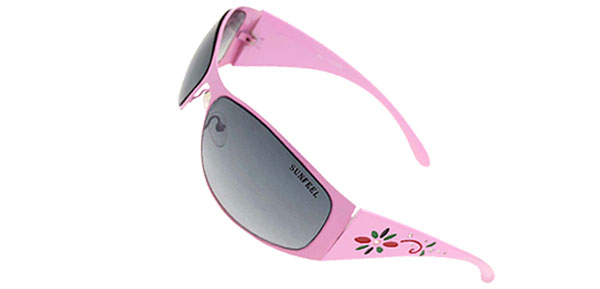 Womans Stylish Flower Girls Fashion Purple Metal Frame Sunglasses