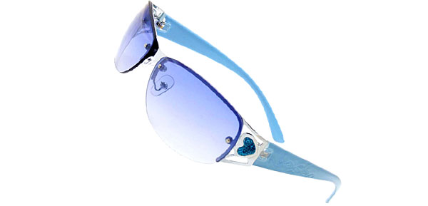 Blue Modern Metal Frame Girls Ladies Heart Fashion Sunglasses