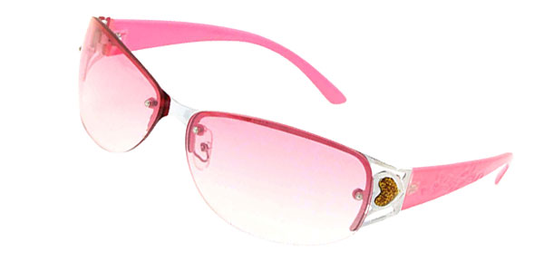 Pink Metal Frame Ladies Heart Fashion Sunglasses
