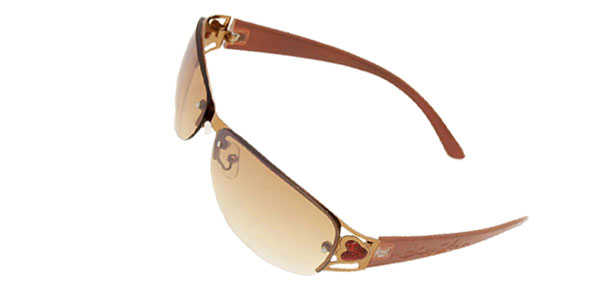 Modern Metal Frame Brown Girls Ladies Heart Fashion Sunglasses