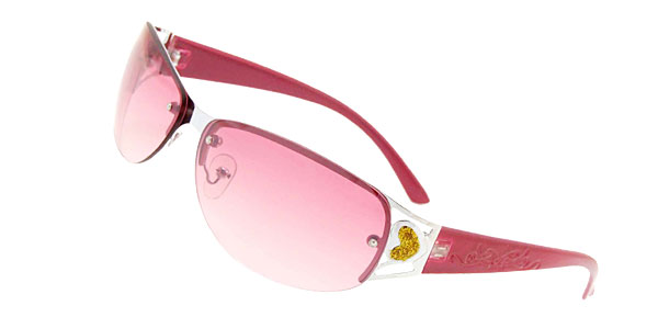 Pink Fashion Metal Frame Modern Girls Ladies Heart Sunglasses
