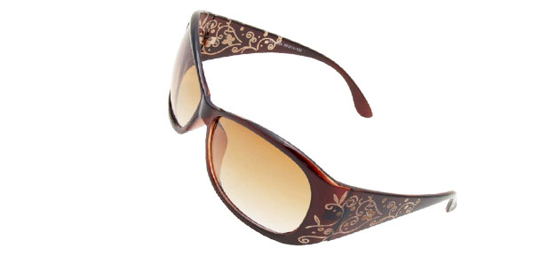 Outdoors Women Plastic Frame Brown Lady Sunglasses