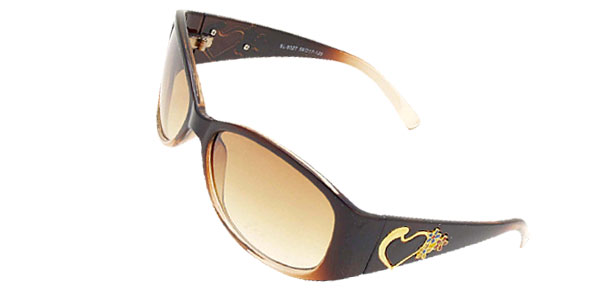 Brown Womans Stylish Heart Girls Sports Sunglasses