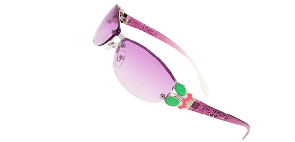 Slim Modern Purple Metal Frame Girls Ladies Butterfly Sunglasses