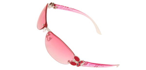 Modern Pink Slim Metal Frame Girls Ladies Butterfly Sunglasses