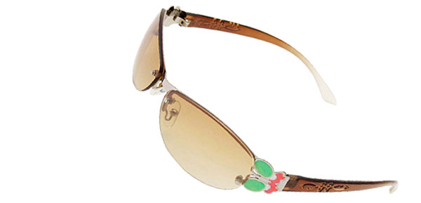 Brown Slim Modern Metal Frame Girls Ladies Butterfly Sunglasses