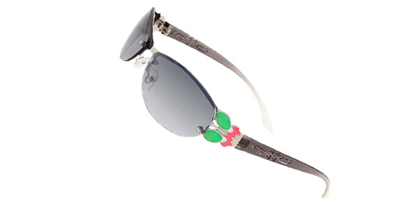 Ladies Slim Modern Metal Frame Girls Butterfly Sunglasses Gray
