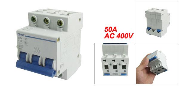 DZ47-60 C50 Miniature Circuit Breaker 3 Poles 400V 50A 50/60Hz