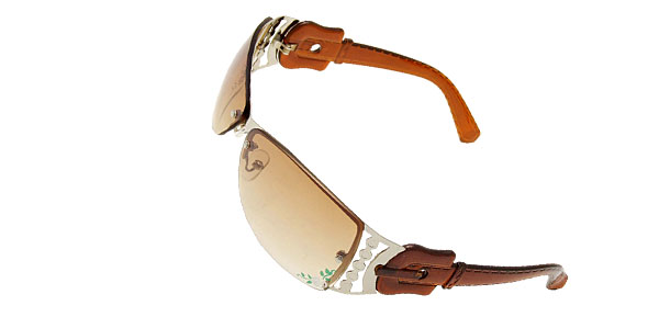 Sports Metal Frame Flower Girls Womans Brown Stylish Sunglasses