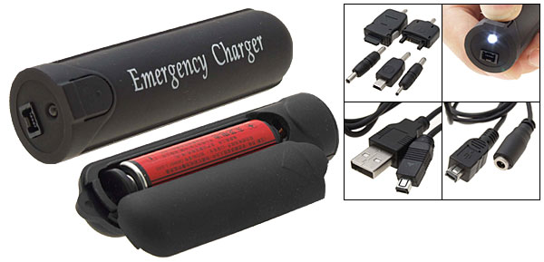 Emergency Charger for Mobile Phones MP3 MP4 Players with LED Indicator