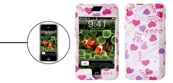 Novelty Heart Pattern Plastic Hard Case Cover for Apple iPhone 1st Generation
