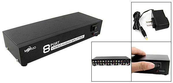 US Plug AC100-240V RCA Video Audio AV Switch 1 to 8 Ports Selector 8 Way TV DVD Splitter Box