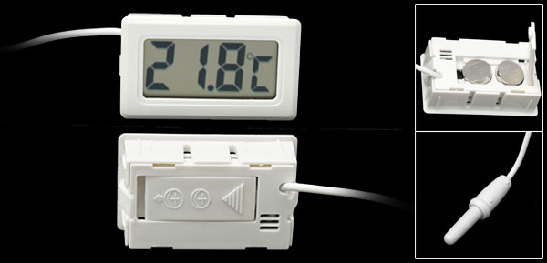 White Mini LCD Refrigerator Freezer Fridge Digital Thermometer