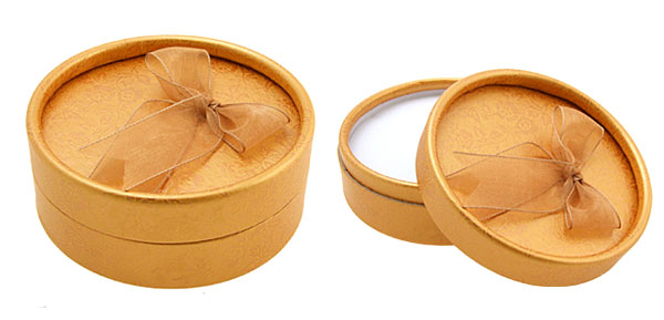 Jewelry Earring Ring Present Gift Round Box Case Orange