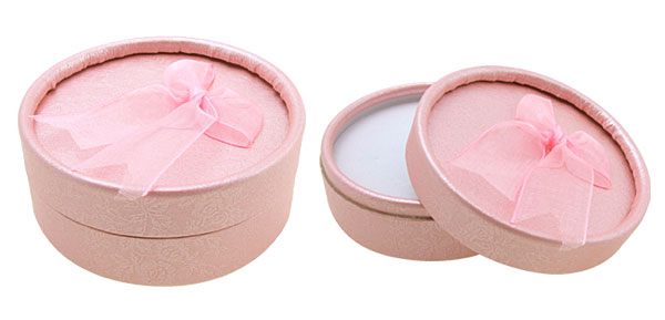 Round Jewelry Earring Ring Present Gift Box Case Pink