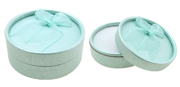 Light Blue Round Earring Ring Jewelry Present Gift Box