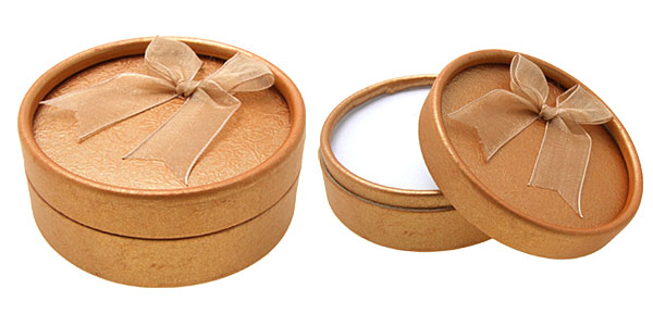 Round Jewelry Ring Earring Gift Present Box Case Saffron