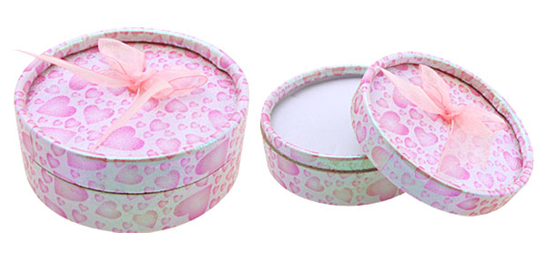 Round Pink Heart Ring Earring Jewelry Gift Present Box