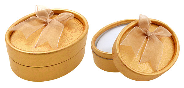 Orange Oval Earring Ring Present Jewelry Gift Box Case