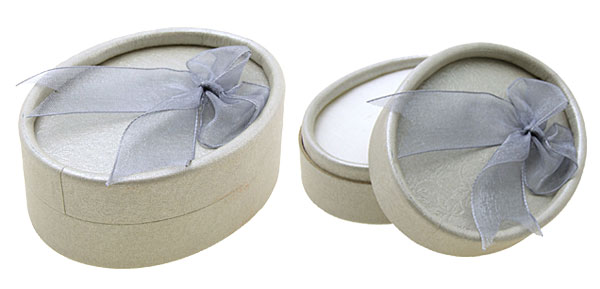 Oval Earring Ring Present Jewelry Gift Box Case Gray