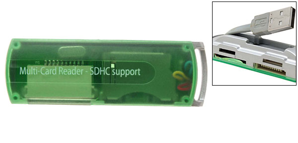 Green Multi USB 2.0 SD SDHC Card Reader Writer