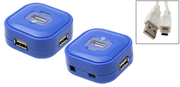 New Mini Blue 4 Port Hi-Speed 480mbps USB 2.0 Hub