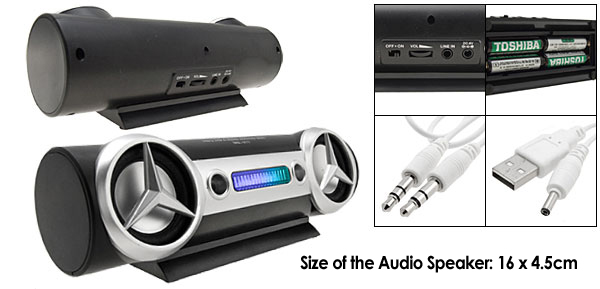 Black Audio Speakers System for iPod Mp3 Mp4 Notebook Desktop