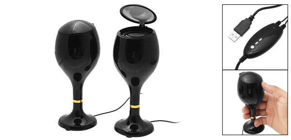 Black Twin Cup Stereo USB Speaker for PC Laptop