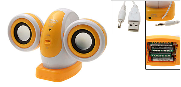 Orange Snail  USB and 3.5mm Jack Music Audio Speakers for iPod MP3 PC