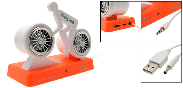 Bicycle Shaped USB PC Music Sound Audio Speakers System Orange