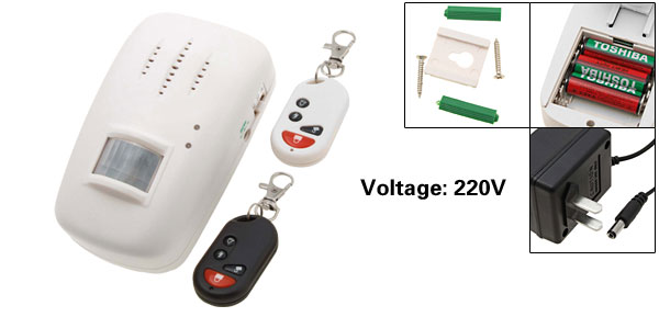 US Plug 220V Wireless Motion Sensor Security Detector Alarm with Remote Control