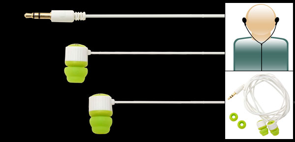 Green Microbon Bass Sound Isolating Earphones for iPod Mp3 Mp4